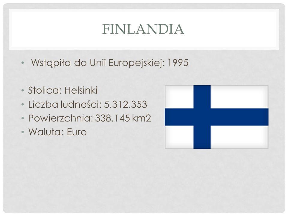 Finlandia Wstąpiła do Unii Europejskiej: 1995 Stolica: Helsinki