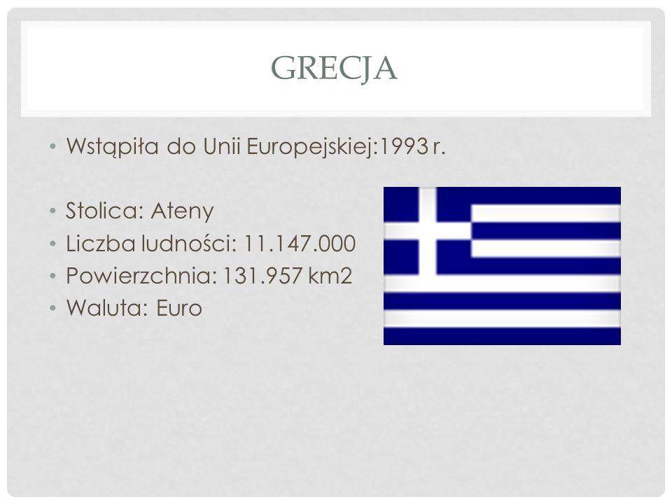 Grecja Wstąpiła do Unii Europejskiej:1993 r. Stolica: Ateny