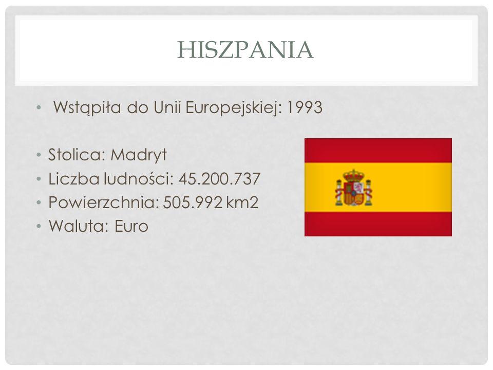 Hiszpania Wstąpiła do Unii Europejskiej: 1993 Stolica: Madryt