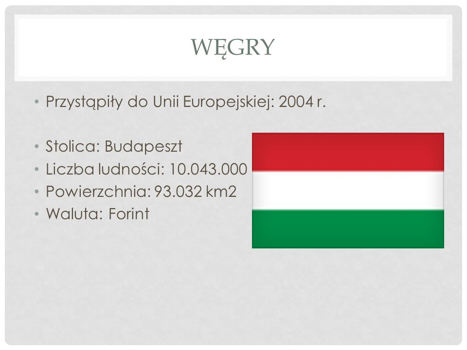 Węgry Przystąpiły do Unii Europejskiej: 2004 r. Stolica: Budapeszt