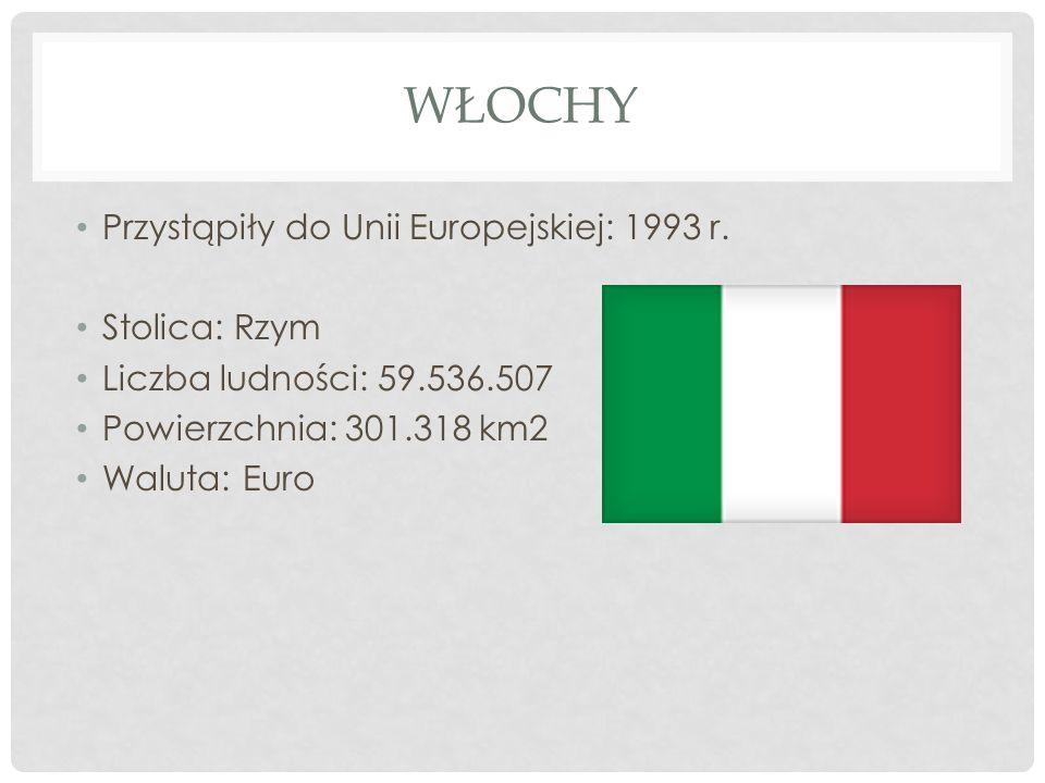 Włochy Przystąpiły do Unii Europejskiej: 1993 r. Stolica: Rzym