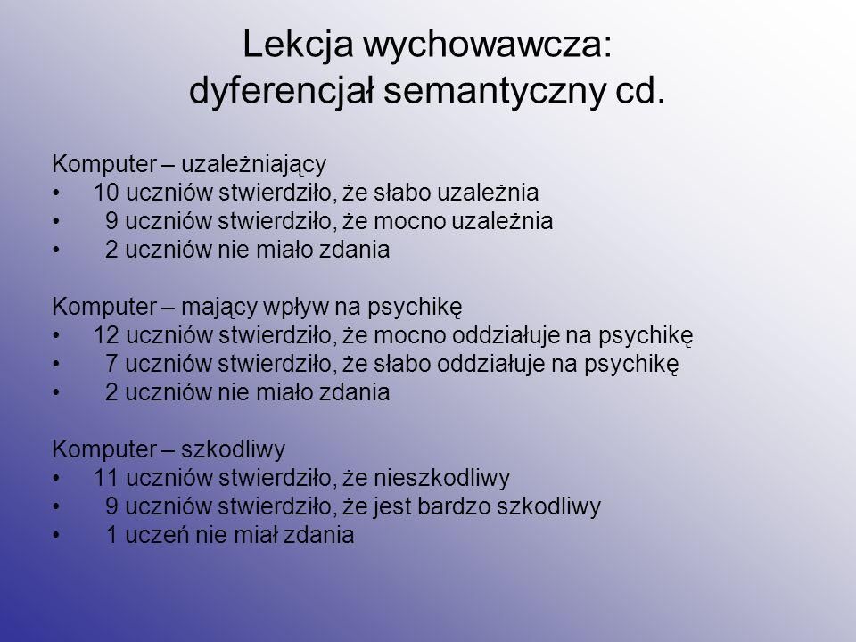 Lekcja wychowawcza: dyferencjał semantyczny cd.