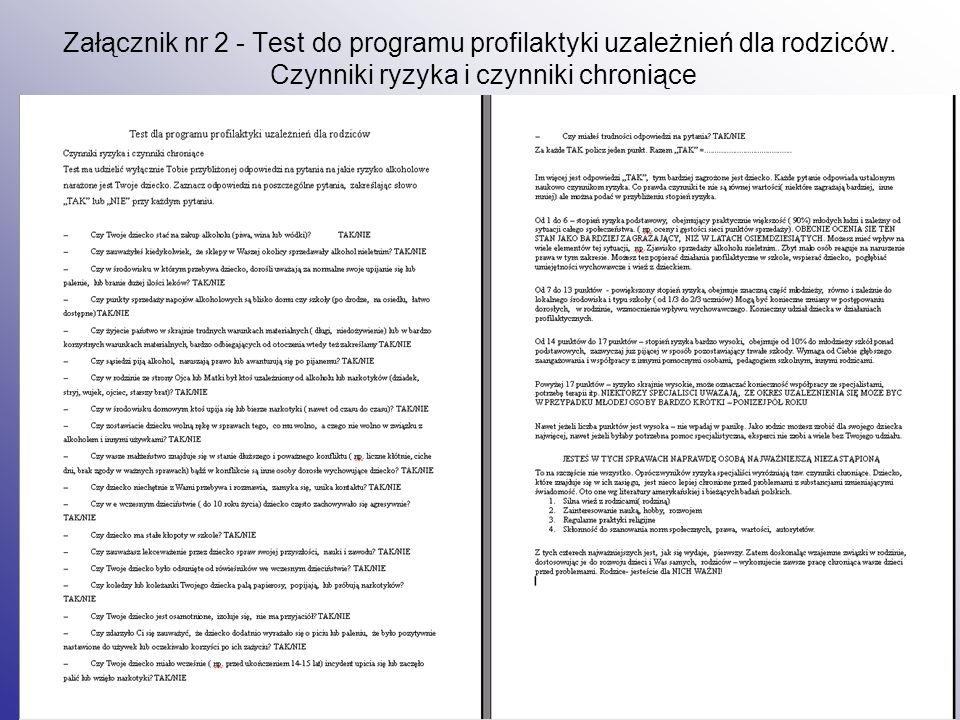 Załącznik nr 2 - Test do programu profilaktyki uzależnień dla rodziców