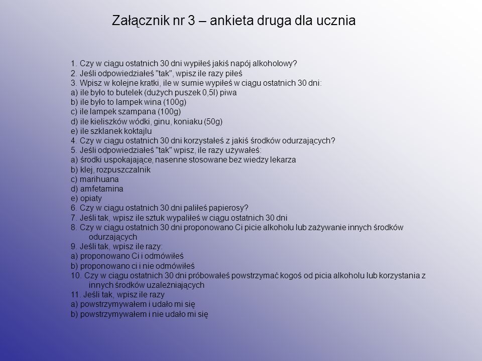 Załącznik nr 3 – ankieta druga dla ucznia