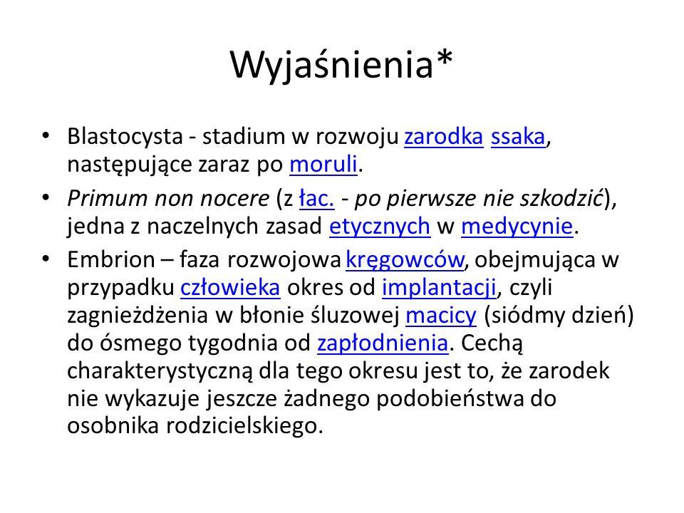 Wyjaśnienia* Blastocysta - stadium w rozwoju zarodka ssaka, następujące zaraz po moruli.