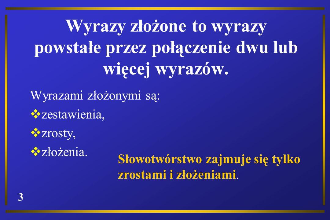 Wyrazy złożone to wyrazy powstałe przez połączenie dwu lub więcej wyrazów.