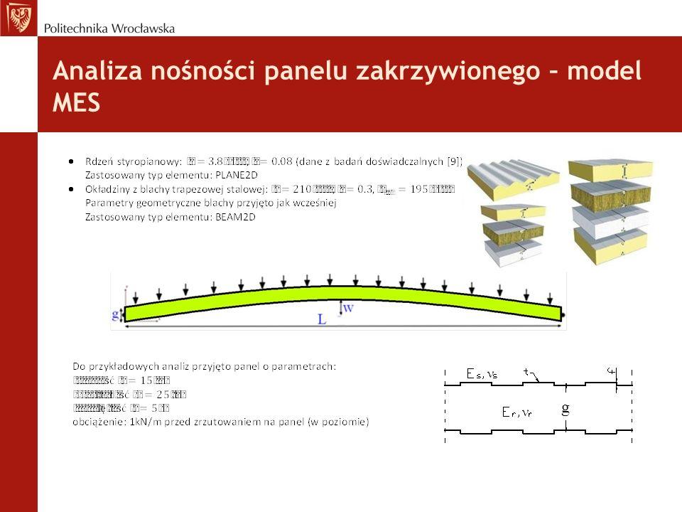 Analiza nośności panelu zakrzywionego – model MES