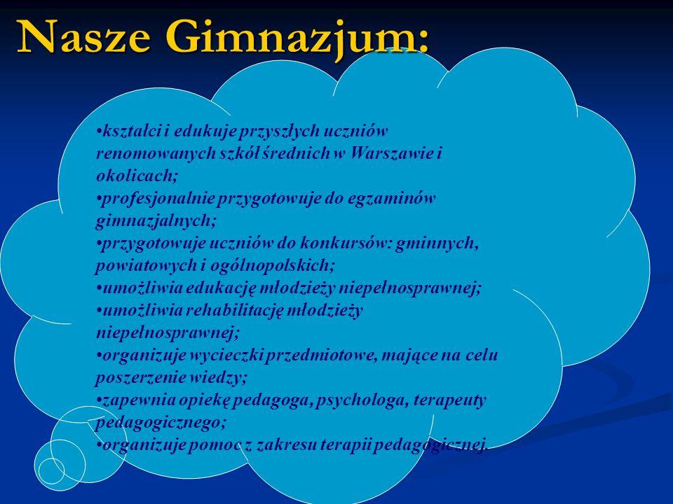 Nasze Gimnazjum: kształci i edukuje przyszłych uczniów renomowanych szkół średnich w Warszawie i okolicach;