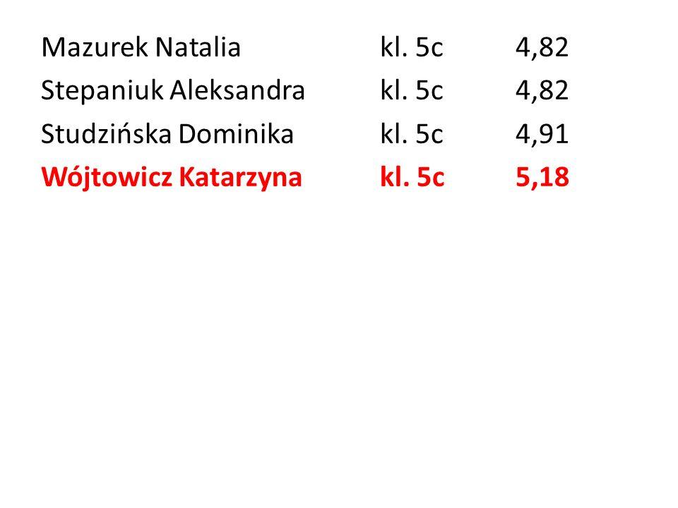 Mazurek Natalia kl. 5c 4,82 Stepaniuk Aleksandra kl. 5c 4,82. Studzińska Dominika kl. 5c 4,91.