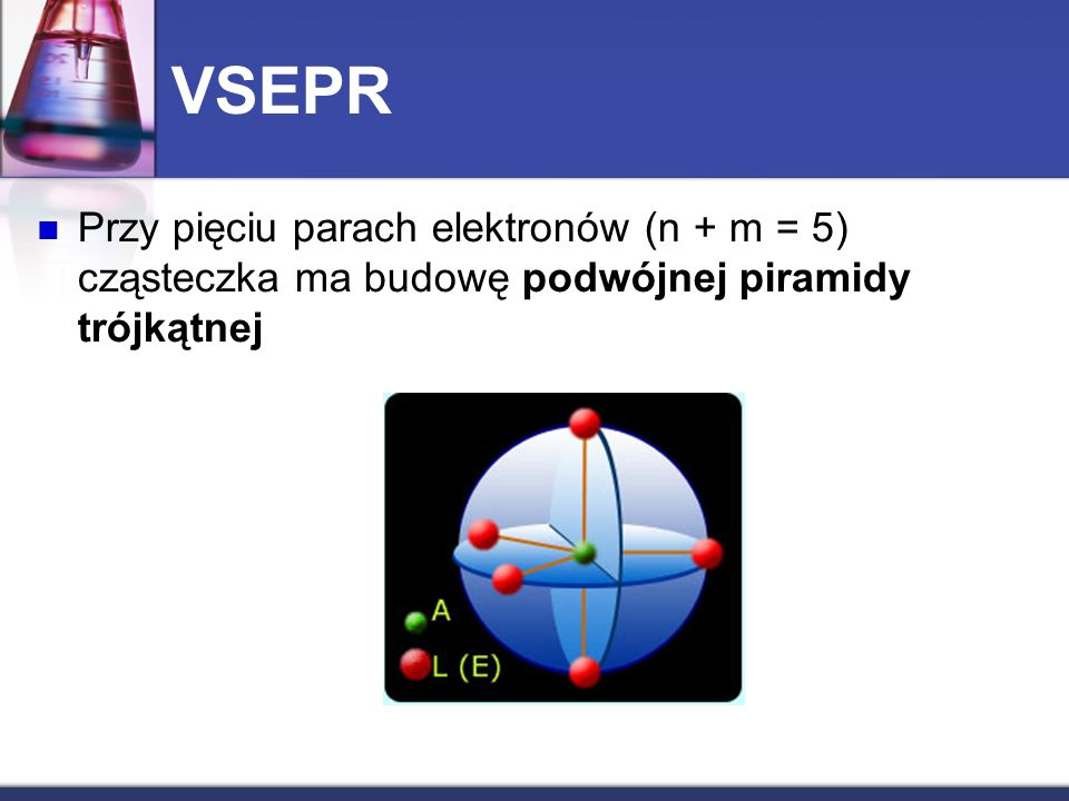VSEPR Przy pięciu parach elektronów (n + m = 5) cząsteczka ma budowę podwójnej piramidy trójkątnej.