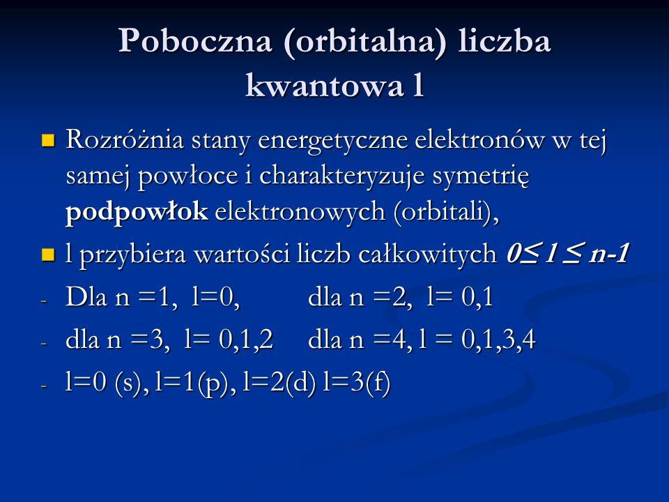 Poboczna (orbitalna) liczba kwantowa l