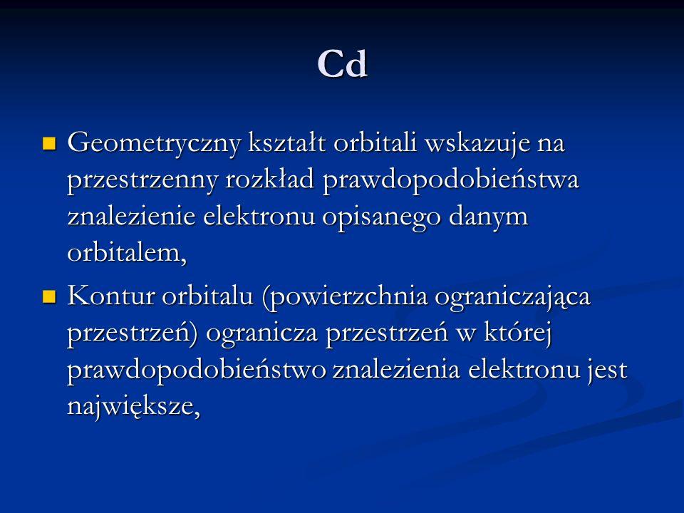 Cd Geometryczny kształt orbitali wskazuje na przestrzenny rozkład prawdopodobieństwa znalezienie elektronu opisanego danym orbitalem,