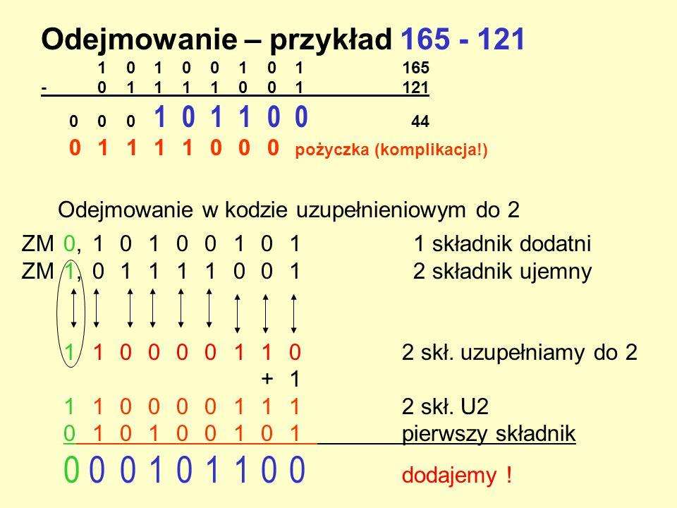 Odejmowanie – przykład 165 - 121