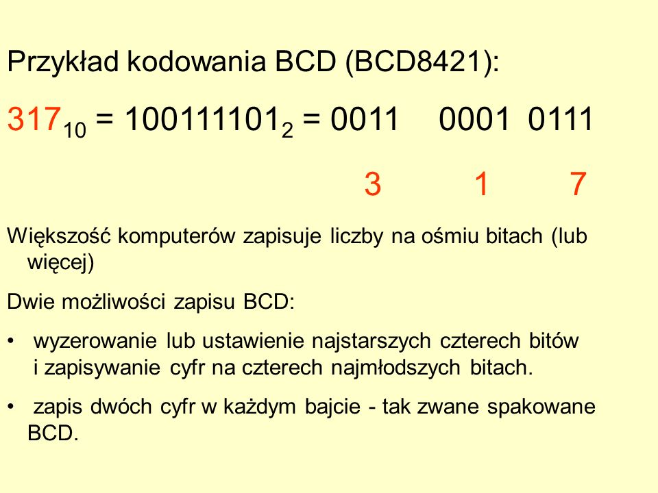 Przykład kodowania BCD (BCD8421):