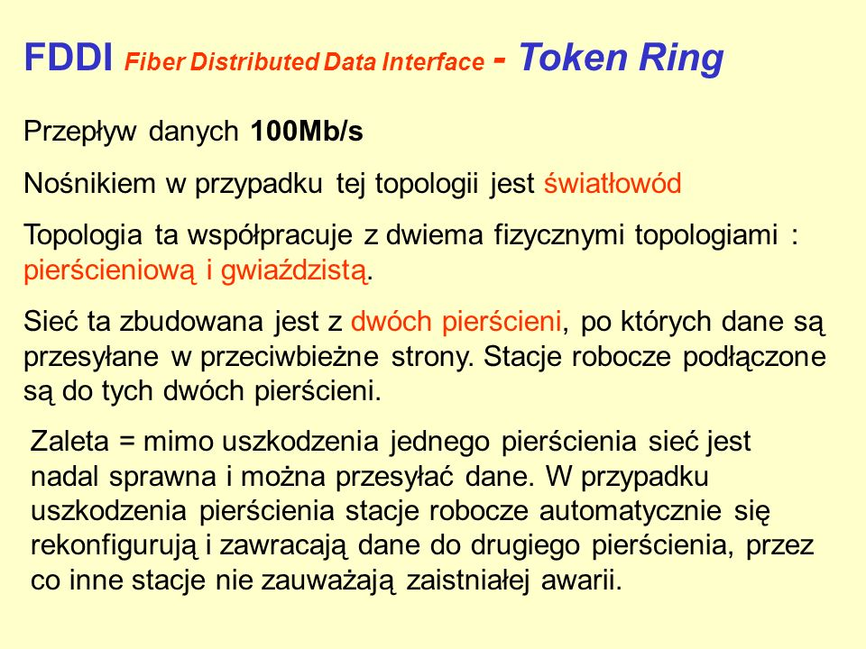 FDDI Fiber Distributed Data Interface - Token Ring