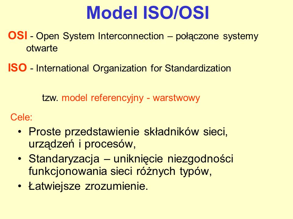 Model ISO/OSI OSI - Open System Interconnection – połączone systemy otwarte. ISO - International Organization for Standardization.