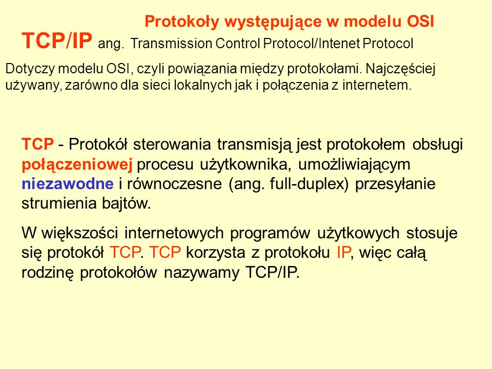 TCP/IP ang. Transmission Control Protocol/Intenet Protocol