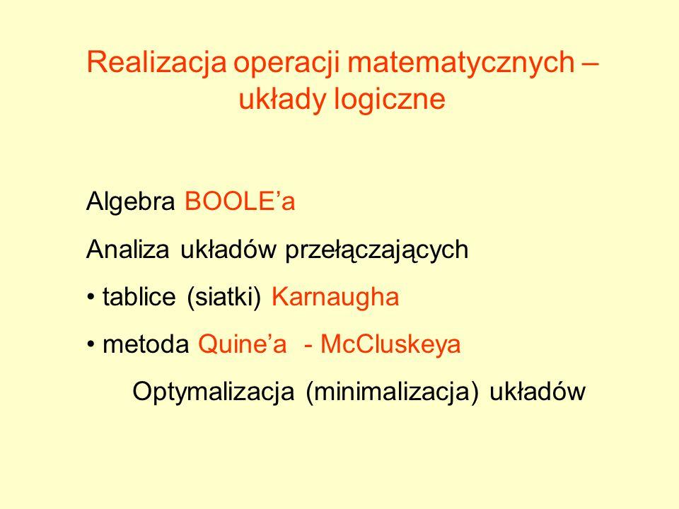 Realizacja operacji matematycznych – układy logiczne