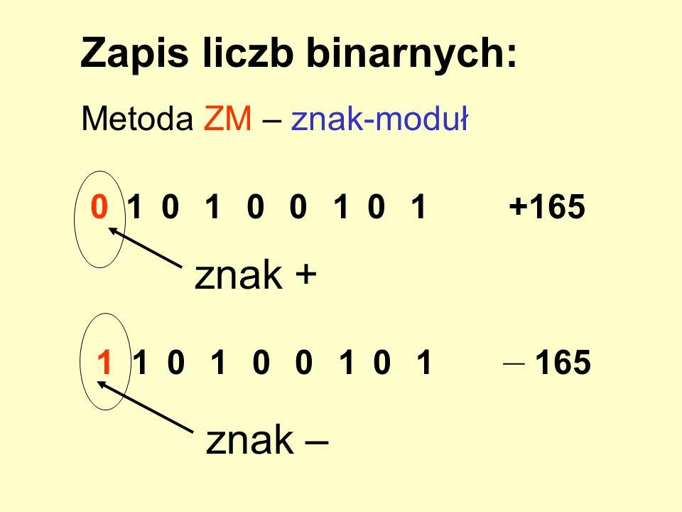 Zapis liczb binarnych:
