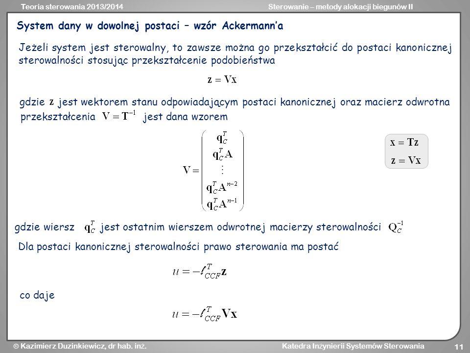 System dany w dowolnej postaci – wzór Ackermann'a