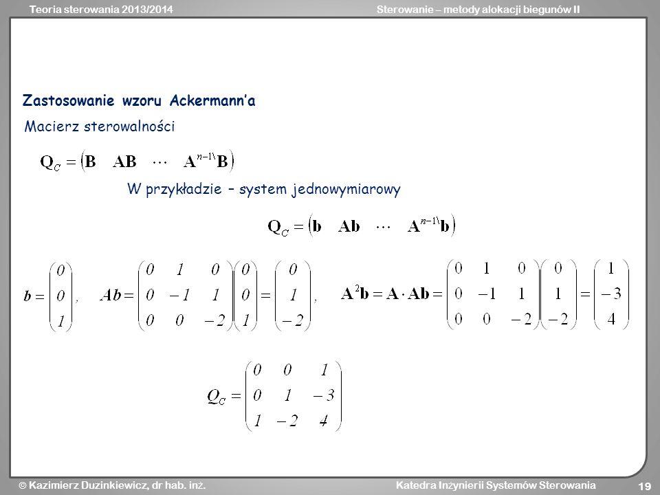 Zastosowanie wzoru Ackermann'a