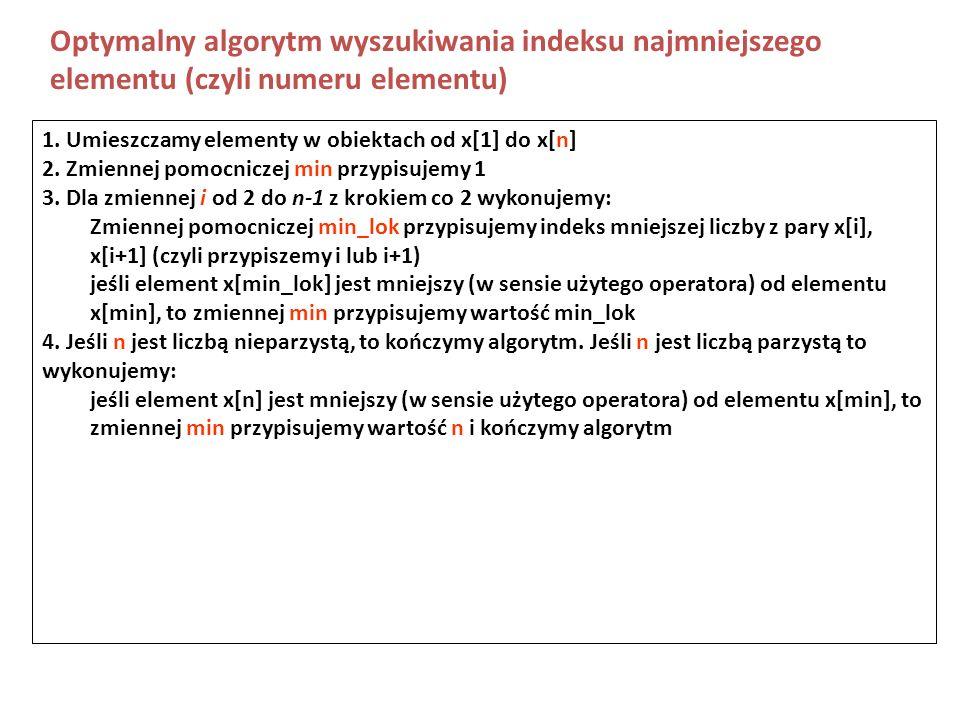 Optymalny algorytm wyszukiwania indeksu najmniejszego elementu (czyli numeru elementu)