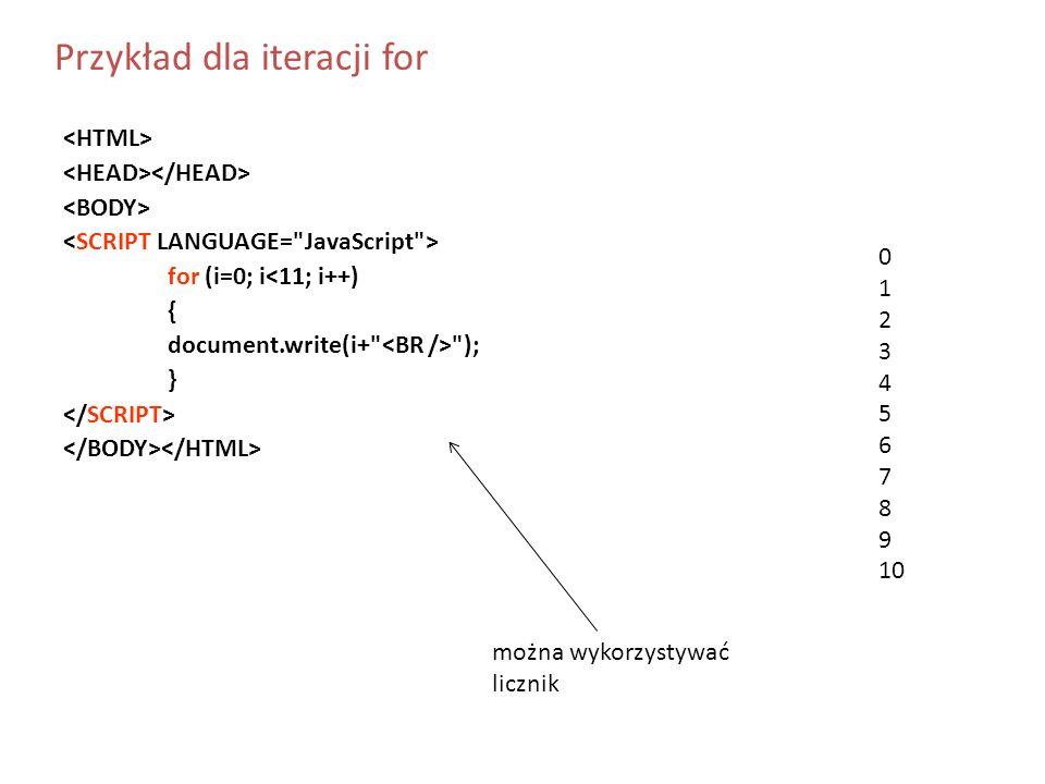 Przykład dla iteracji for