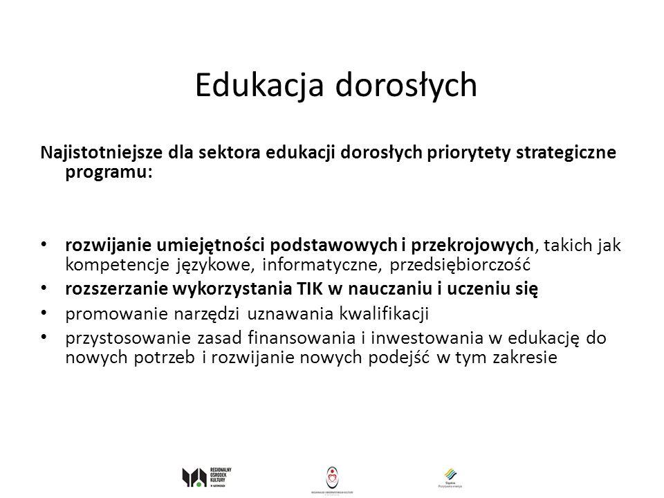Edukacja dorosłych Najistotniejsze dla sektora edukacji dorosłych priorytety strategiczne programu: