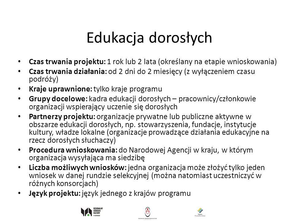 Edukacja dorosłych Czas trwania projektu: 1 rok lub 2 lata (określany na etapie wnioskowania)