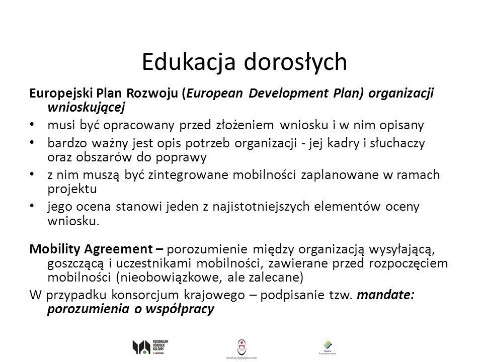 Edukacja dorosłych Europejski Plan Rozwoju (European Development Plan) organizacji wnioskującej.