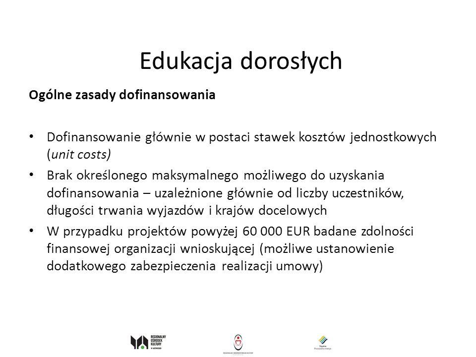 Edukacja dorosłych Ogólne zasady dofinansowania
