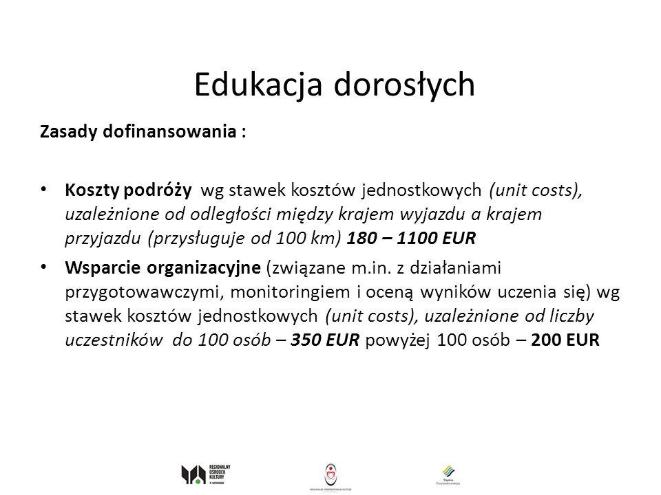 Edukacja dorosłych Zasady dofinansowania :