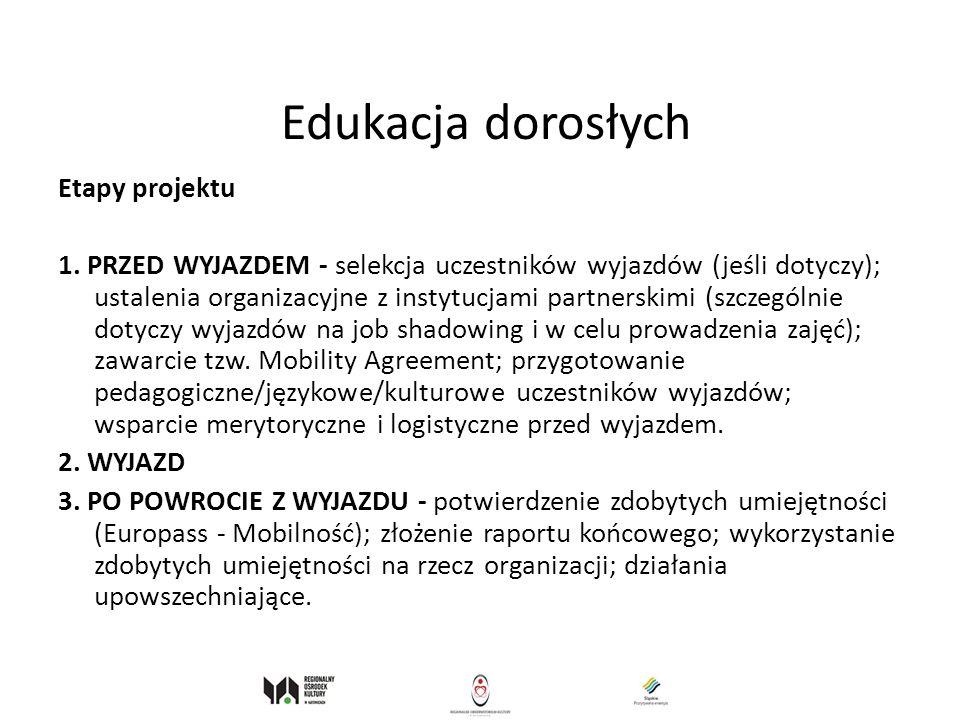 Edukacja dorosłych Etapy projektu
