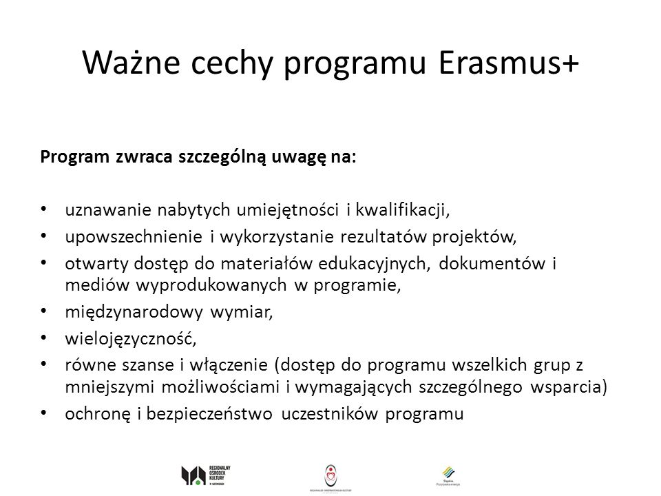 Ważne cechy programu Erasmus+