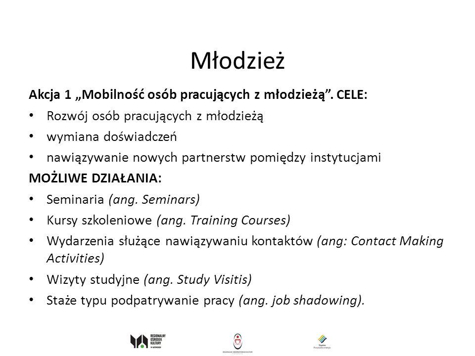 """Młodzież Akcja 1 """"Mobilność osób pracujących z młodzieżą . CELE:"""