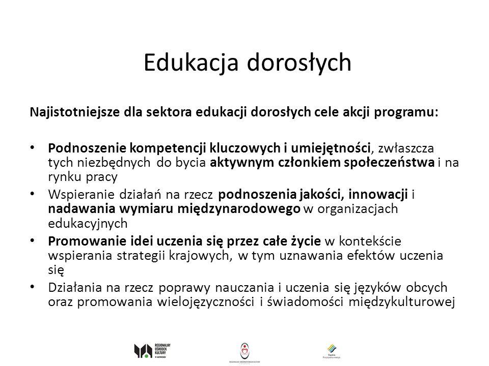 Edukacja dorosłych Najistotniejsze dla sektora edukacji dorosłych cele akcji programu: