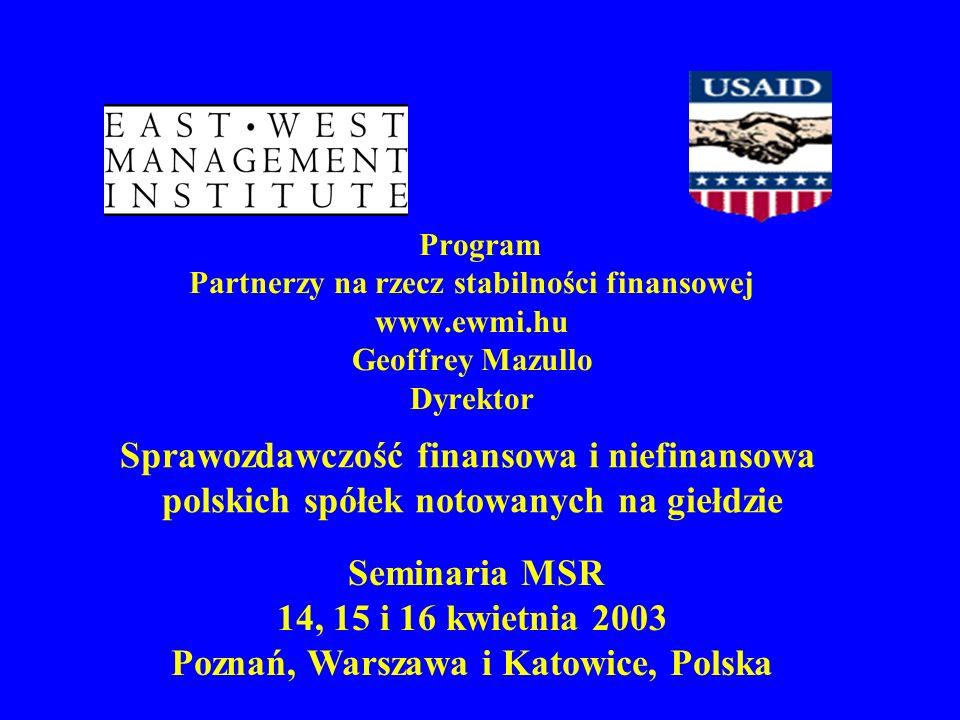 Program Partnerzy na rzecz stabilności finansowej www. ewmi