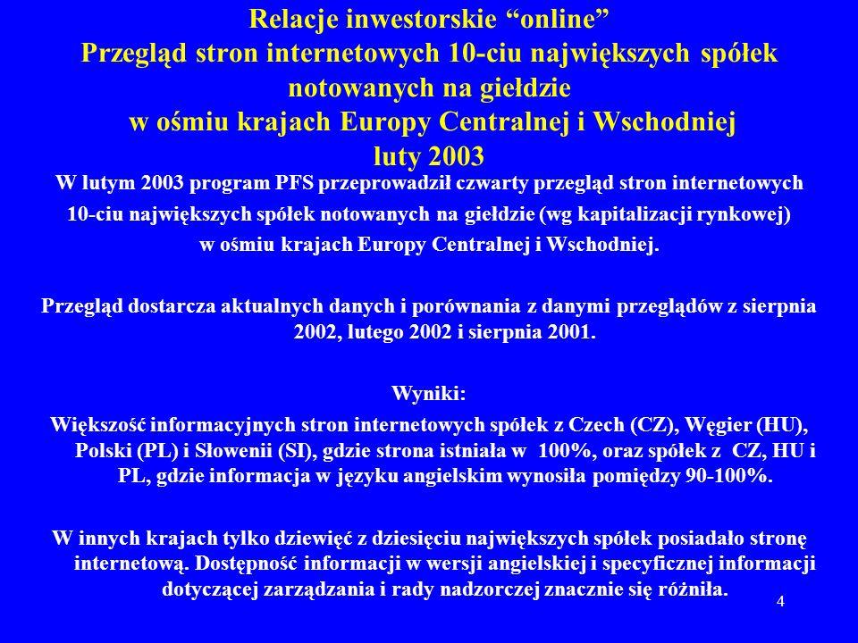 w ośmiu krajach Europy Centralnej i Wschodniej.