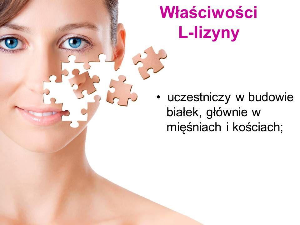 Właściwości L-lizyny uczestniczy w budowie białek, głównie w