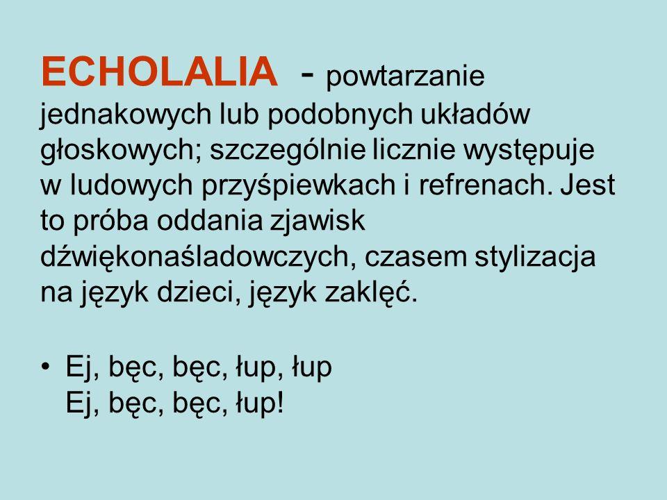 ECHOLALIA - powtarzanie jednakowych lub podobnych układów głoskowych; szczególnie licznie występuje w ludowych przyśpiewkach i refrenach. Jest to próba oddania zjawisk dźwiękonaśladowczych, czasem stylizacja na język dzieci, język zaklęć.