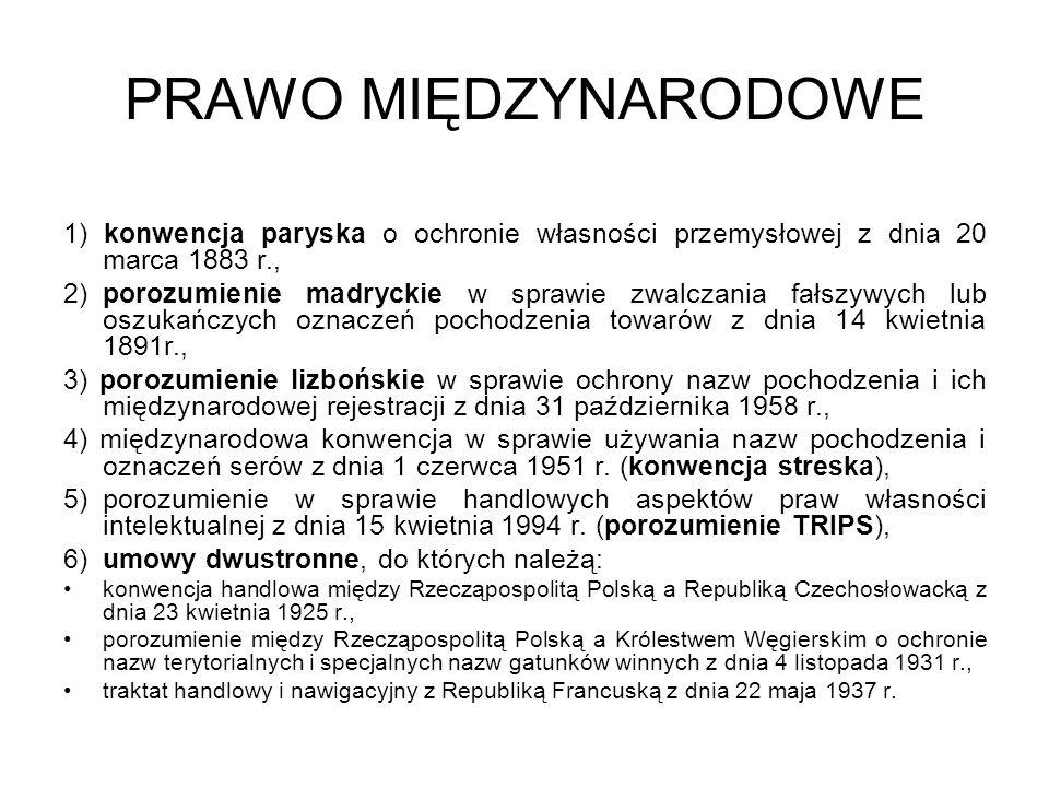 PRAWO MIĘDZYNARODOWE 1) konwencja paryska o ochronie własności przemysłowej z dnia 20 marca 1883 r.,