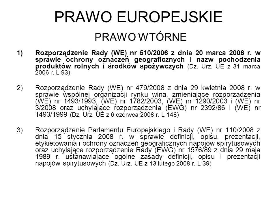 PRAWO EUROPEJSKIE PRAWO WTÓRNE