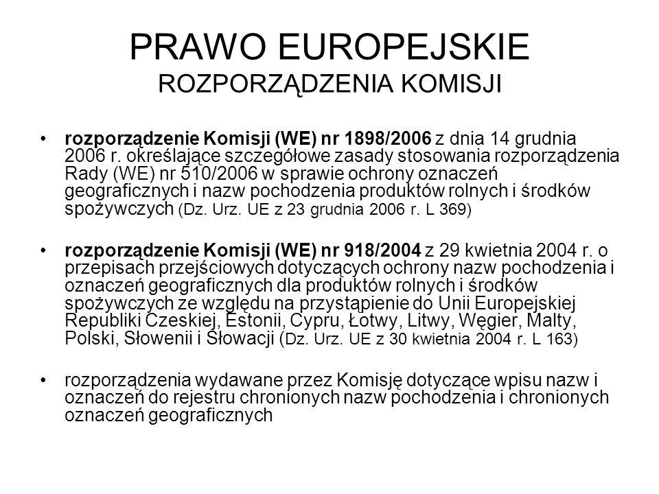 PRAWO EUROPEJSKIE ROZPORZĄDZENIA KOMISJI