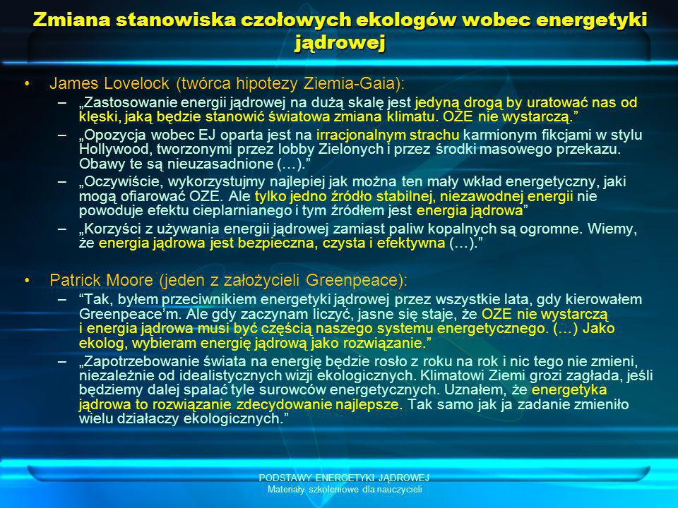 Zmiana stanowiska czołowych ekologów wobec energetyki jądrowej