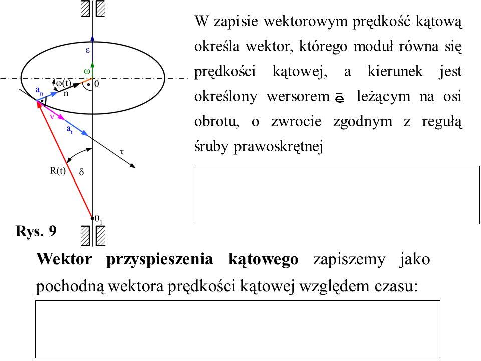 W zapisie wektorowym prędkość kątową określa wektor, którego moduł równa się prędkości kątowej, a kierunek jest określony wersorem leżącym na osi obrotu, o zwrocie zgodnym z regułą śruby prawoskrętnej