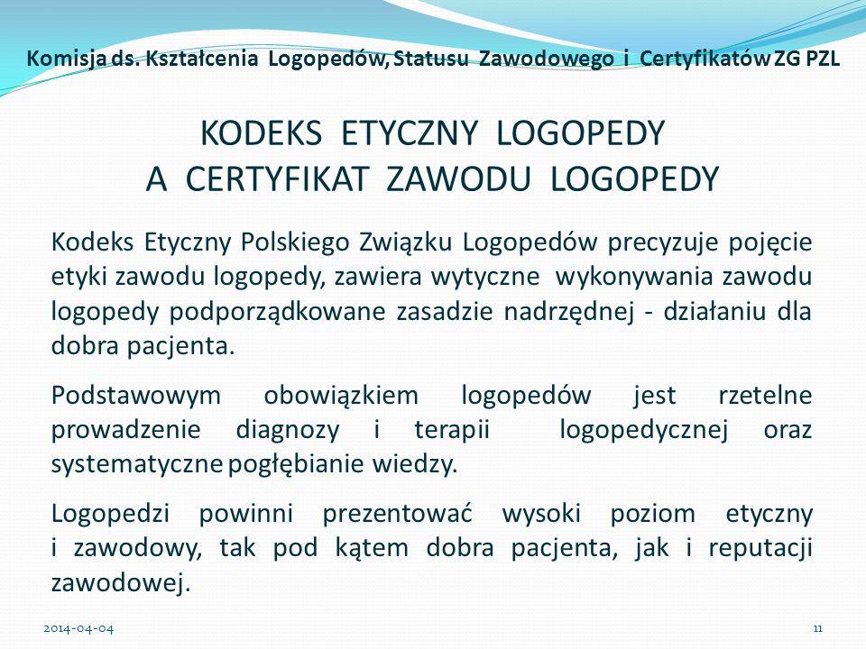 KODEKS ETYCZNY LOGOPEDY A CERTYFIKAT ZAWODU LOGOPEDY