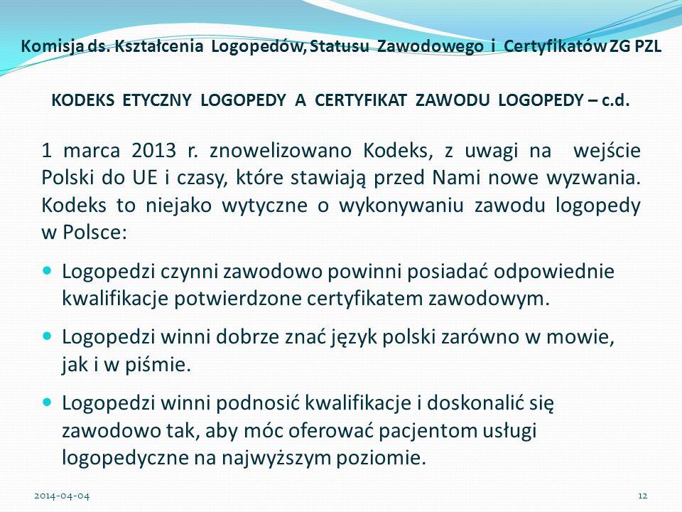 KODEKS ETYCZNY LOGOPEDY A CERTYFIKAT ZAWODU LOGOPEDY – c.d.