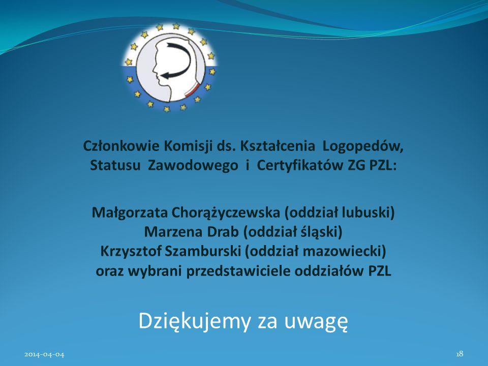 Członkowie Komisji ds. Kształcenia Logopedów, Statusu Zawodowego i Certyfikatów ZG PZL: