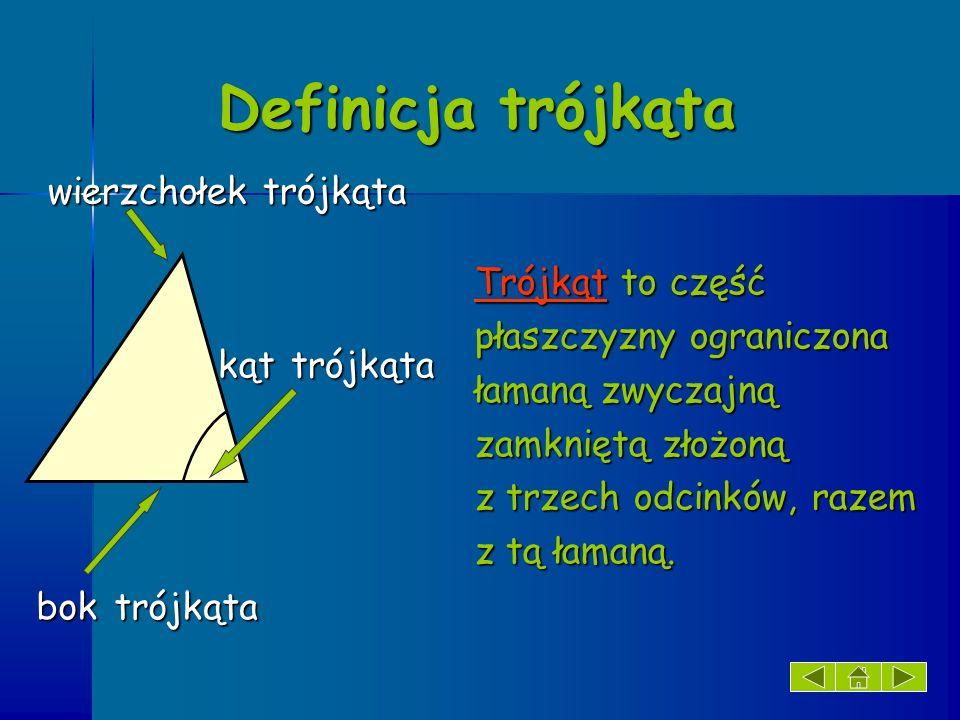 Definicja trójkąta wierzchołek trójkąta Trójkąt to część
