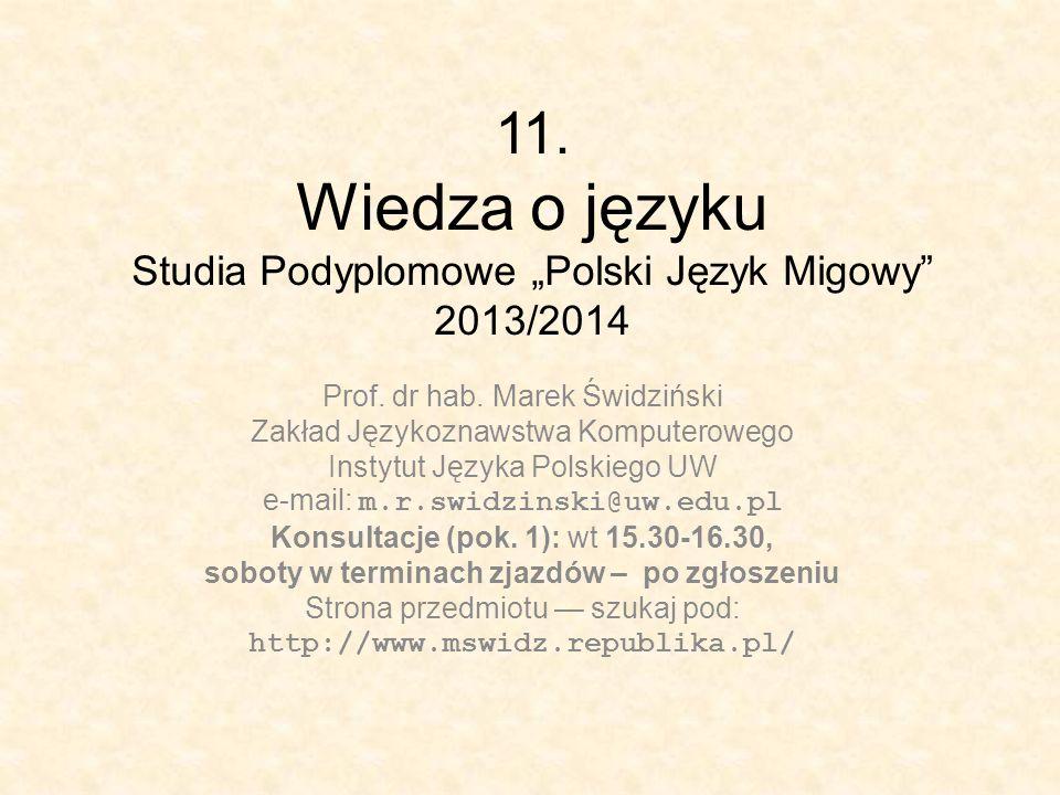 """11. Wiedza o języku Studia Podyplomowe """"Polski Język Migowy 2013/2014"""